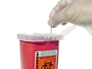 Most containers come with a hole to insert the sharps.